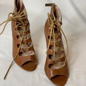 Belle Marie Chestnut Lace Up Heels Booties Size 6